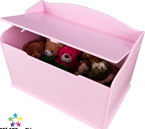 Toy Box, Functional, Pink, Safety Hinge on Lid Protects Young Fingers from Getting Pinched, Made of Wood, Doubles as a Bench for Additional Seating, Easy to Put Together, BONUS FREE E-book
