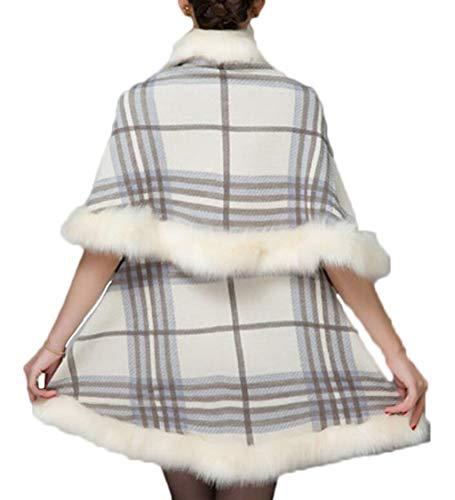 Mantello E Scialle Con Cardigan Signore Bianca Inverno colore Acvxz Alta Dimensioni Lusso Size Di One Qualità Cappuccio Autunno Bianca Plaid Maglia B6xq1w