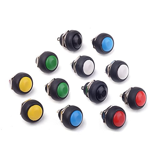 Cylewet 12Pcs 12mm Waterproof Momentary On Off Reset Push Button Switch Mini Round Switch 6 Colors(Pack of 12) CYT1088