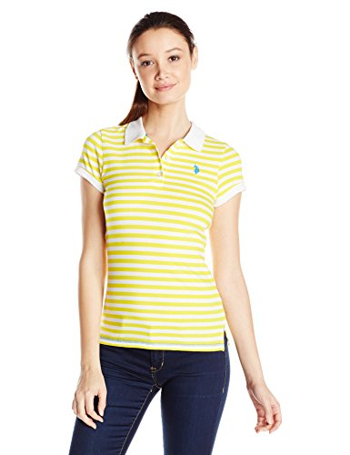 (U.S. Polo Assn. Junior's Sporty Striped Cotton Jersey Polo Shirt, Sailing Yellow)