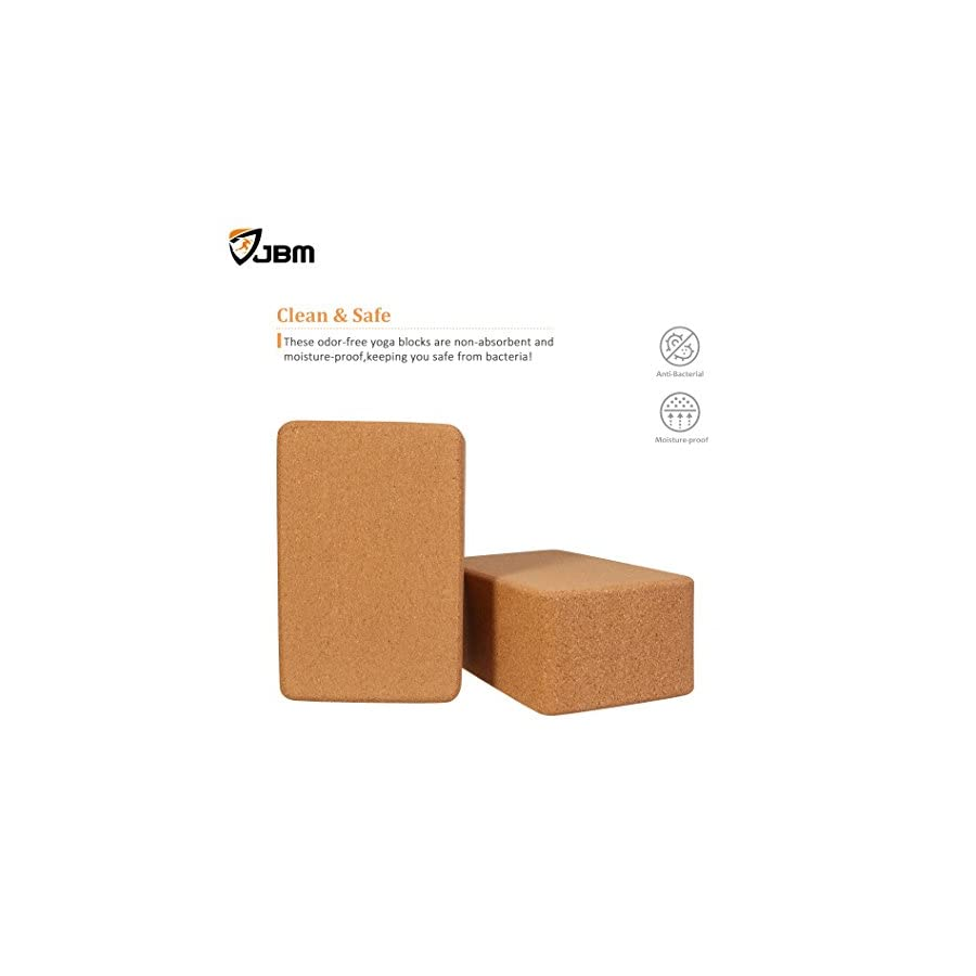 JBM international JBM Yoga Blocks 2 Pack Plus Strap Cork Yoga Block Yoga Brick, Natural & Eco Friendly Cork Yoga Block to Support and Deepen Poses, Lightweight, Odor Resistant and Moisture Proof