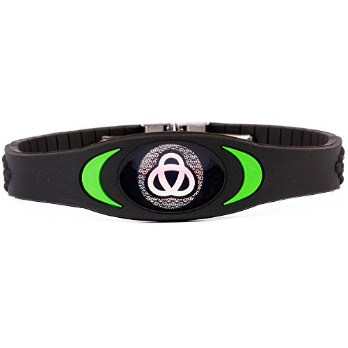 Ion Bracelet By Infinity Pro - Ion Core Band 4000+ Negative Ions for Sleep, Energy, Balance, Golf, Sport. Men / Women. Tourmaline Health Wristband (Black/green)