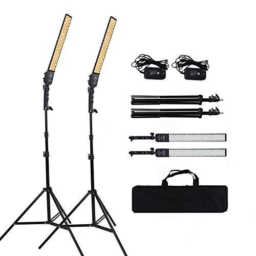 24w 3200-5500k 2 Pack,2X192 LED Beads CRI>95, Dimmable Handheld Fill Light Photography Light Kit with Tripod Stand, for…