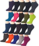 Tipi Toe Women's 20 Pairs Colorful Patterned Low Cut/No Show Socks (WL12-AB)