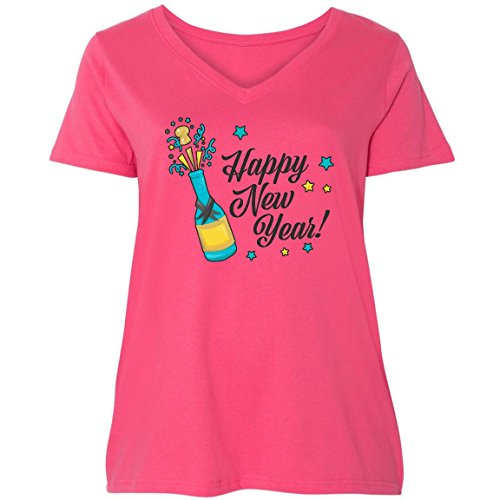 inktastic Happy New Year With Ladies Curvy V-Neck Tee 3 (22/24) Pink 2da35
