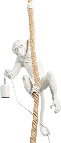 Vintage Monkey Pendant Light Chandelier Resin Hemp Rope Industrial Edison Ceiling Pendant Lamp Fixture E27