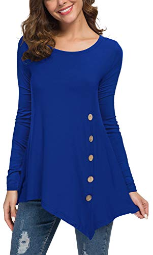 Jouica Women's Loose Scoop Neck Solid Asymmetrical Fall T-Shirt Blouse Tops Royal Blue XXL