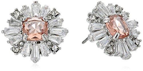 Carolee Blushing Bride Collection Women's Burst Stud Earrings, Silver/Lt Pink