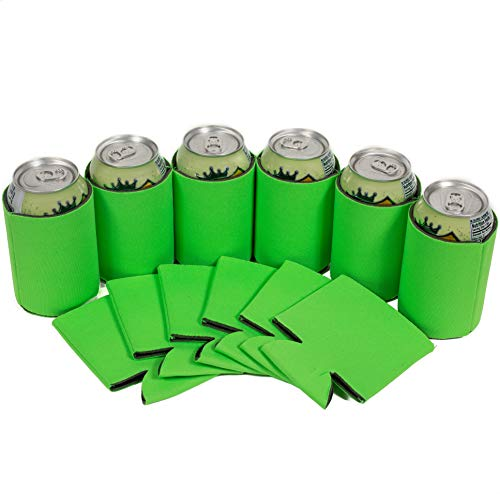 QualityPerfection 12 Citrus Green Blank Can Coolers,Collapsible Insulator Bulk For Beer,Soft Drink,Bottle,Economy 12oz.Beer Can Coolie Perfect For Parties,Wedding,Custom DIY Project,Business -