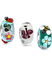 Set of 3 Bundle 3D Insect Floral Multicolored Murano glass Lampwork Bead Charm Set .925 Sterling Silver