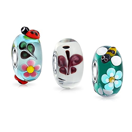 (Garden Insect Lampwork Murano Glass Mix of 3 Sterling Silver Spacer Bead Fits European Charm Bracelet For Women For Teen)