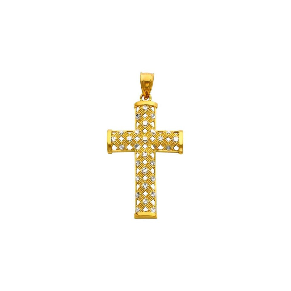 14K Two Tone Gold Religious Cross Charm Pendant