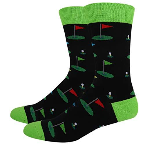 Happypop Men's Novelty Funny Golf Sports Crew Socks, Funky Crazy Cool Golfer Gift Socks in Black -