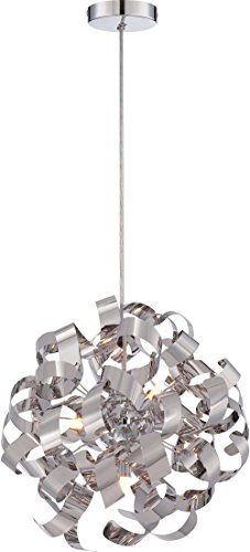 (Quoizel RBN2817C Ribbons Curved Metal Pendant Ceiling Lighting, 5-Light, Xenon 200 Watts, Polished Chrome (17