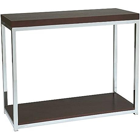 Wall Street Modern Sofa Table Espresso Top Chrome Base Dimensions 36 W X 15 D X 29 H Weight 44 Lbs