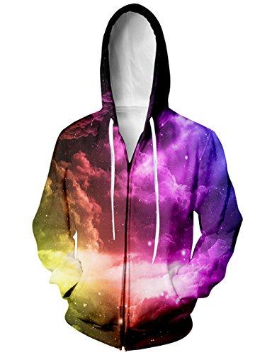 RAISEVERN Unisex Galaxy Nebula Zip Up Hoodie All Over ...