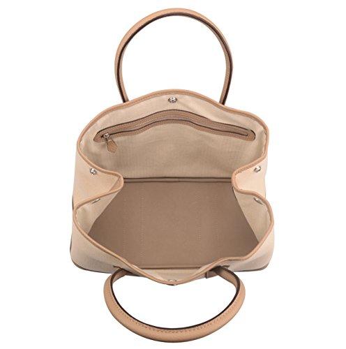 Ainifeel Women's Genuine Leather Top Handle Handbag Shopping Bag Tote Bag (Taupe(leather+canvas)) by Ainifeel (Image #5)