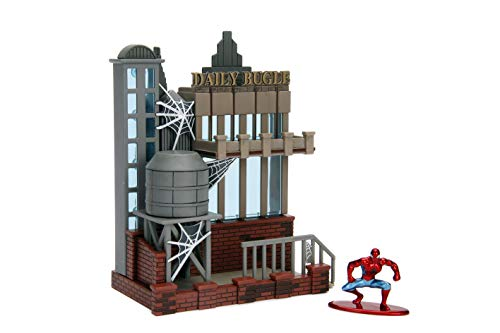 (Nano Metalfigs 99983 Jada Toys Marvel Spider Man City Scene-Daily Bugle Display with Figure, Multicolor)
