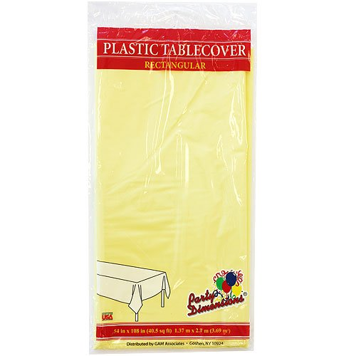 "Plastic Rectangular TableCovers 54"" x 108"" - 20 Colors Color: Yellow"