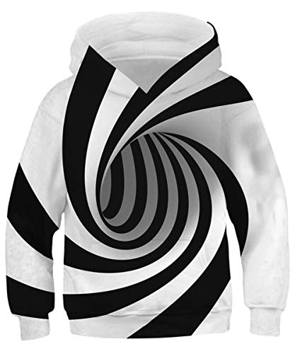GLUDEAR Youth Funny 3D Pattern Hoodies Soft Hooded Sweatshirts for Children,Black&White Stripes,8-11 T