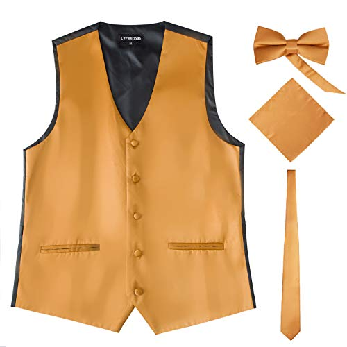 Cyparissus Mens Vest Waistcoat Men's Suit Dress Vest for Men or Tuxedo Vest (Medium, Gold 1#)