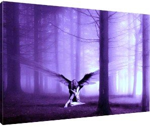Marvelous Picture Art On Canvas, Purple Angel In The Forest By Caledonia Crafts    Large Fully