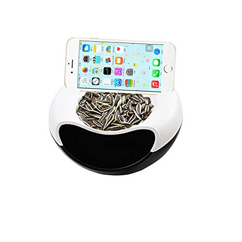 Alovexiong Black-White Multifunction Snack Storage Bowl Double Dish Nut Bowl with Cellphone Holder Slot Plate Dish Organizer Perfect for Snacks,Fruit,Pistachio,Sunflower Seeds,Peanuts,Edamame,Candies