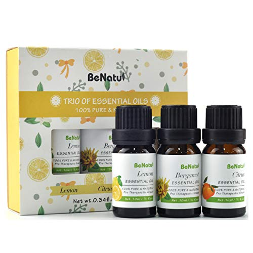 Benatu Essential Oils Gift Set(Lemon, Citrus, Bergamot), Pure and Organic Beginners Kit for Aromatherapy, Diffuser, Massage, Bath 3 - Lemon Citrus