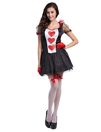 Halloween Costume Women's Sexy Hearts Card Queen Dress Las Vegas Waitress Unform (US 4-6) -