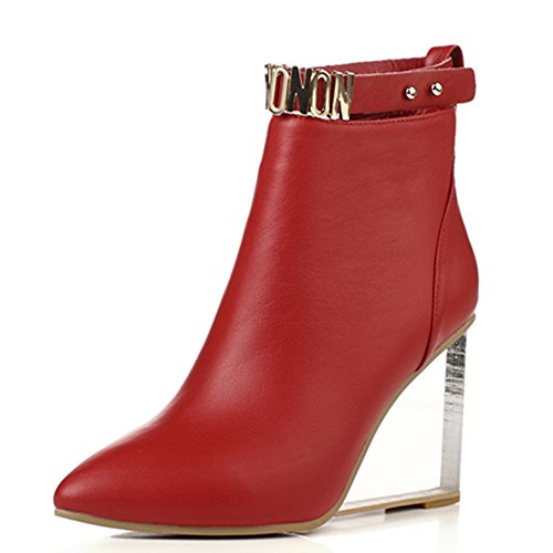 Seven Boots Comfortable Clear Toe Ankle Shoes Wedge Red Nine Heel Women's Pointed Handmade Zip Bootie wdvZSSq7