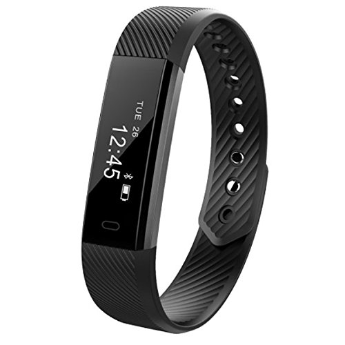 Fitness Tracker Smart Watch Bluetooth Wristband Sleep Monitor Step Pedometer Activity Tracker Calories Distance Time Exercise Sweatproof Great for Women Men Kids For IOS & Android(Black)