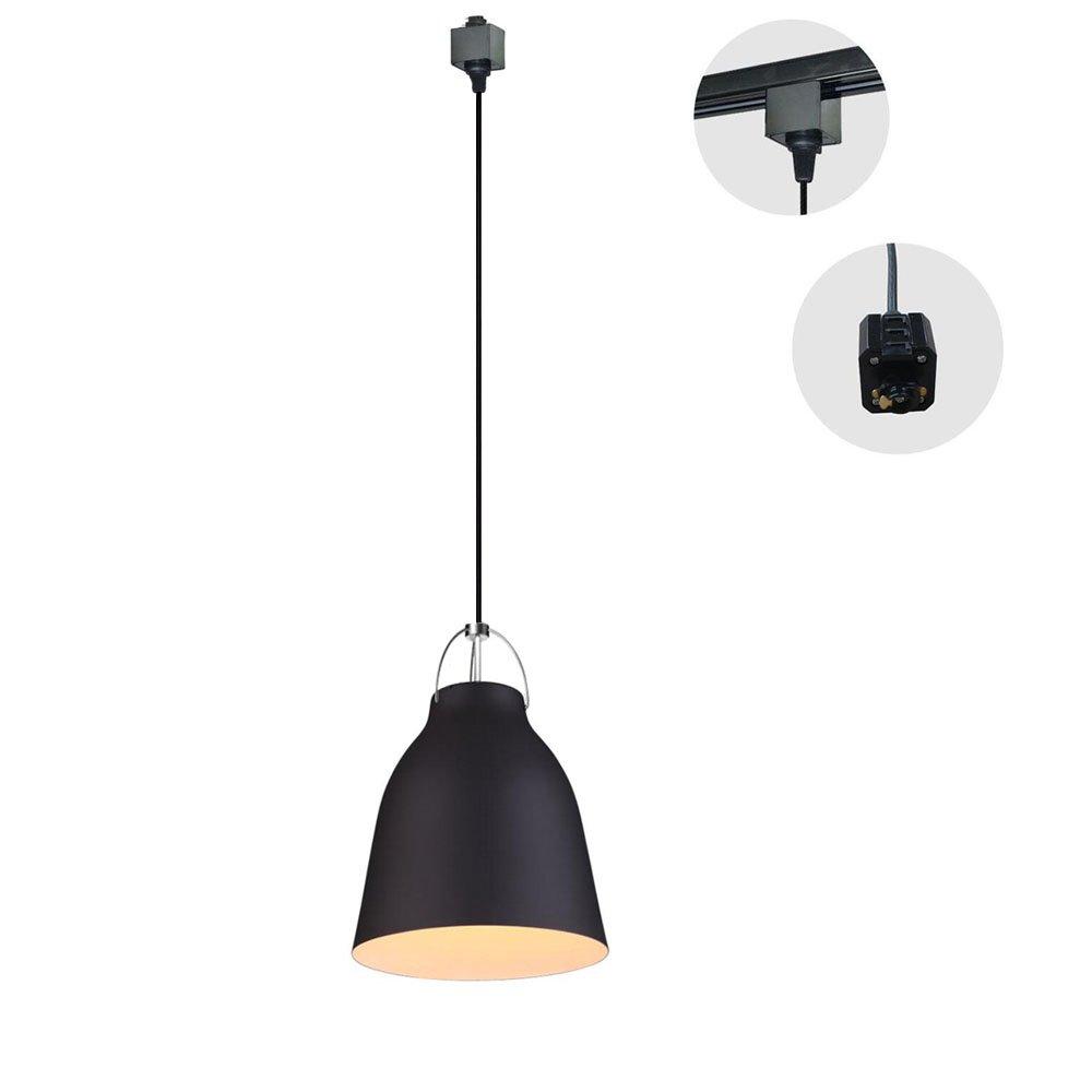 Kiven 1-Light H-Type 3 Wire Metal Pail Track Light Pendants Length 3.3 Ft Restaurant Chandelier Deco Chandelier Instant Pendant Fixture,Bulb Not Include,Retro Industrial Pendant Lamp (TB0263-B)