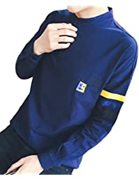 Slim Fit T-Shirt Cotton Long Sleeve O-Neck Half Button Shirt