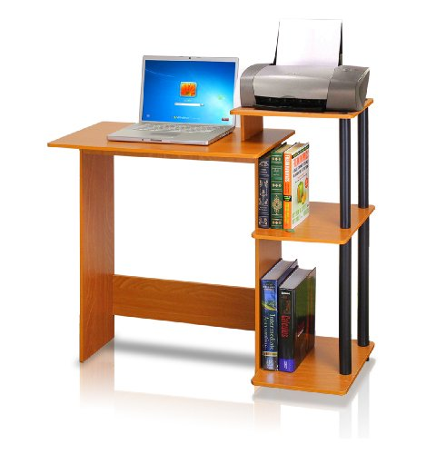 Furinno 11192LC/BK Efficient Computer Desk, Light Cherry/Black