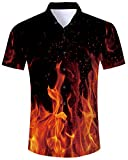 Men's 3D Funny Novelty Casual Button Down Short Sleeve Red Gold Black Fire Flame Beech Polo Holiday Blouse Shirt XL