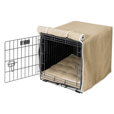 Luxury Diam Microvelvet Dog Crate Cover Size: XX-Large (30″ H x 48″ W x 33″ D), Color: Flax