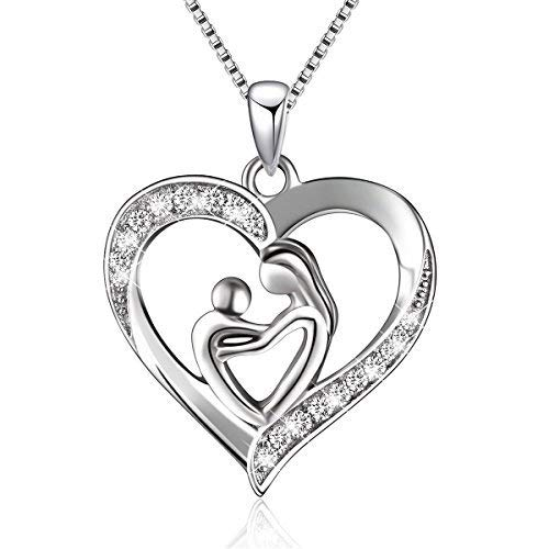 Sterling Silver Mother and Child Love Heart Pendant Necklace,Box chain 18