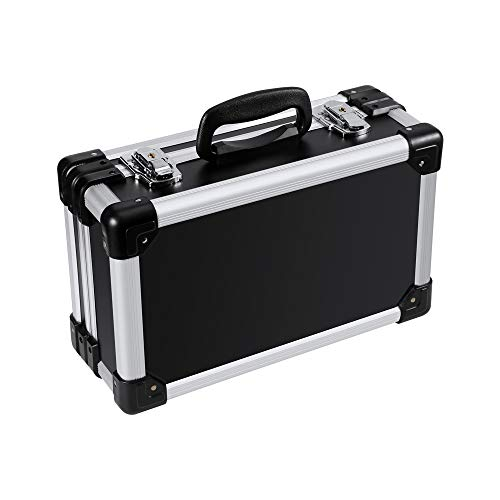 "Kodar Aluminum Hard Case, 13.4"" X 7.7"" X 4.7"" Toolbox Briefcase Portable Storage Box Lockable Pill Cases,Suitable for Workplace and Family,Black"