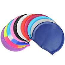 BARGAIN HOUSE Swimming Caps, Alfa Premium Waterproof Silicone Swim Caps with Ear Guard for Medium to Long Hair, Non-toxic, Wrinkle-free - Great for Youth Unisex Adult Men Women.