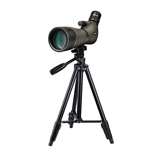 SVBONY SV46 Spotting Scope with Tripod HD Dual Focus 20-60x80 Zoom IPX7 Waterproof Long Range Angled Telescope for Bird Watching Hunting Target Shooting Archery Range