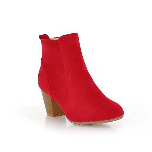 Zipper Boots Toe Girls Red 1TO9 Chunky Round Frosted Heels aWt0CnBq