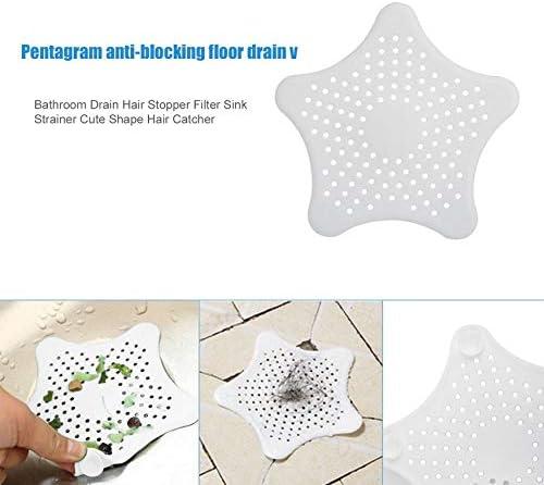 fengzong Tipo de Estrella de mar Fregadero de Cocina Filtro Anti-Bloqueo de Cabello Ventosa Drenaje de Piso de Silicona Blanco