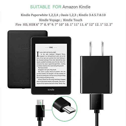 E-Reader Charger, AC Power Supply Charger for Kindle E-Reader Paperwhite 3 Oasis E-Reader Voyage E-Reader with 5FT Charging Cable