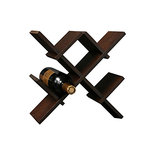 (C&AHOME Portable Bamboo Butterfly Wine Rack Shelf 5-Bottle Hanging Display Wine Storage Holder Set, Oak Brown)