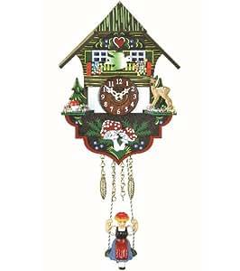 """ISDD Kuckulino Black Forest TU 2004 SQ - Reloj cucú en miniatura con movimiento de cuarzo llamada del cucú, diseño """"Casa de la selva negra"""", multicolor, batería incluida"""