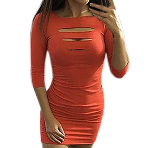 DongDong Women Sexy O-Neck Sheath Three Quarter Sleeve Hole Solid Casual Mini Dress ()
