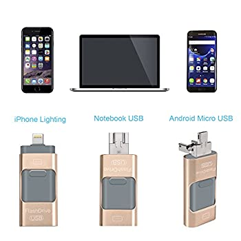 Usb Flash Drives For Iphone 32 Gb 3.0 Pen-drive Memory Storage 3 In 1, Hmfire Otg Jump Drive Lightning Memory Stick External Storage, Usb 3.0 Flash Drives For Apple Ios Android Computers (Gold) 3