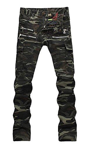 Camouflage Skinny Zipper Moto Biker Jeans ()