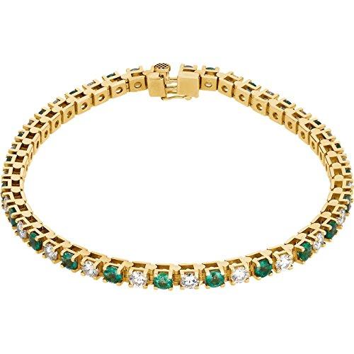 14K Yellow Gold Emerald & 2 3/8 CTW Diamond Bracelet