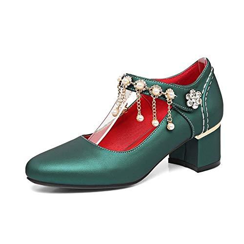 Poliuretano Mujer Tacones Green Zapatos Beige Spring amp; Fall Chunky de Heel PU Pearl Bomba ZHZNVX básica Red Silver Rhinestone 1IvxEqI
